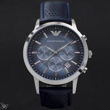 Emporio Armani Herrenuhr AR2473 Echt Leder Farbe: Blau Chronograph