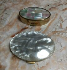 Vintage Mother of Pearl Blush Powder Compact And Lip Stick Case A