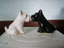 """Vintage 50's Black & White Pair of Scottie Dogs Gold Accent Trim 2 1/4"""" Tall"""