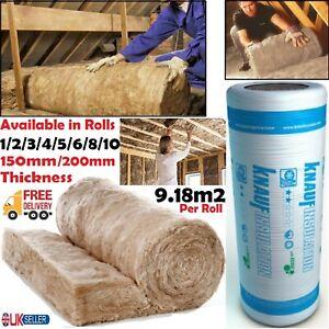 1/2/5/10x Knauf Loft Insulation Combi Cut 44 Earthwool Roll 150/200mm 9.18 m² UK
