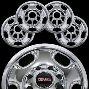 """4 New GMC Sierra 2500 3500 HD 17"""" 8 Lug CHROME Wheel Skins Rim Covers Hub Caps"""