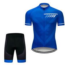 Men's Blue Cycling Jersey Shorts Kits Short Sleeve Riding Shirt Short Pants Sets
