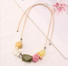 Geometric Flower Chunky Statement Necklace, Yellow Green / Sky Blue, Exaggerate