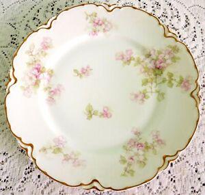 ANTIQUE RARE Haviland LIMOGES Schleiger Pink Flowers Double Gold DINNER PLATE