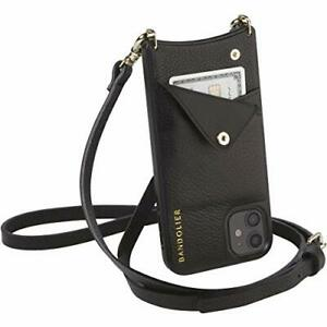 Bandolier Emma Crossbody Phone Case and Wallet - Black Leather With Gold Deta...