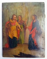 Antique 19th C Russian Hand Painted Wooden Icon of The Myrrhbearers