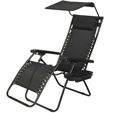 Zero Gravity Chair Lounge For Patio with Canopy Shade Cup Holder Antigravity