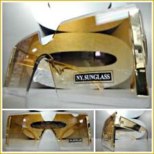 Oversized Exaggerated Retro Luxury Designer Shield Style SUN GLASSES Honey Lens
