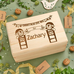 Personalised Engraved Solid Wooden Pine Christmas Eve Xmas Box -Decorating Elves