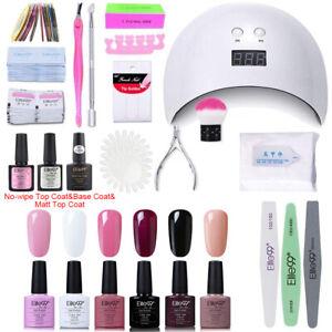 Elite99 9pcs UV Gel Nail Polish Kit Starter Manicure Set LED Dryer Lamp Base Top