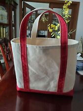 LL Bean Boat & Tote Bag White Ivory Canvas Red Trim