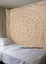 Indian Gold Elephant Mandala Tapestry Wall Hanging Queen Cotton Bedspread Gypsy