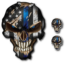 3x Thin Blue Line Skull USA American Flag Window Sticker Vinyl Decal Car Truck
