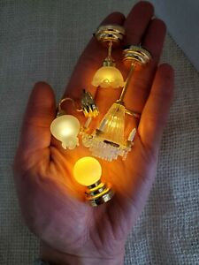LOT OF 4 LED Chandelier & Light Fixtures Dollhouse Miniature Battery Lamps 1:12