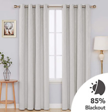 Deconovo Blackout Curtains Drapes Wave Line with dots Cream 52x63inch (2 Panels)