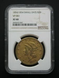 1854/1854 Small Date NGC XF40 $20 Liberty Gold Double Eagle