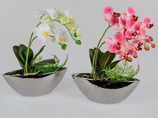 Kunstpflanze Orchideen Kunstblumen in silbernem Keramiktopf 40cm sort. Formano