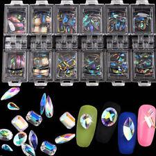 12 Box/Set 3D Nail Art Colorful Crystal Mixed Size Nails Tips Decals Decor Bling