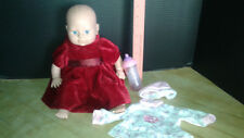 """!997 CITITOY soft body 14"""" BABY DOLL, blue eyes & 2 outfits"""