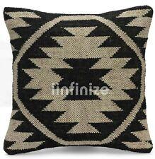 """18"""" Cushion Cover Hand Woven Kilim Sham Decorative Pillow Jute Sofa Throw Case"""