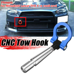 Blue Tow Hook Ring Racing Aluminum Tailer For Mitsubishi Lancer EVO X 10 08-16