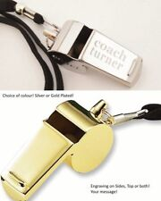 Personalised Engraved Stainless Steel or Gold Plated Whistle FREE Gift Box
