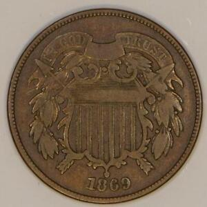 1869 Two Cent Piece; Repunched Date, FS-302 (Old 69/8); Nice VG+