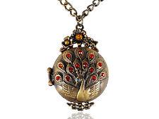 Hot Retro Golden Ruby Crystal Rhinestone Peacock Locket Necklace Pendant
