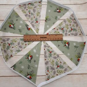 Handmade 1 metre Christmas Bunting 8 Flags Robins Acorns