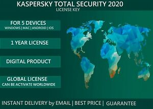 KASPERЅKΥ TOTAL SECURITY* 2020 2021 GLOBAL KEY 1 YEAR 5 PC MULTI-DEVICE