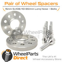 Wheel Spacers & Bolts 15mm for Peugeot Expert Mk3 16-20 On Aftermarket Wheels