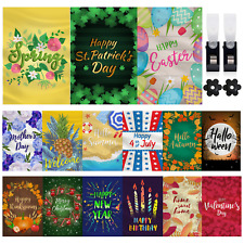 Mogarden 15-Pack Seasonal Garden Flags Set, 12 x 18 Inch, Decorative Yard Flags