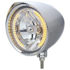 """Chrome 7"""" Billet Style """"CHOPPER"""" Headlight w Razor Visor - 34 Amber LED H4 Bulb"""