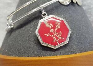 "ALEX &  ANI Silver Plated ""Larkspur"" 💐 expandable Charm Bangle Bracelet"