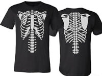 Halloween Rib Cage T-Shirt Front & Back Print Cosplay Outfit Men's & ladie's
