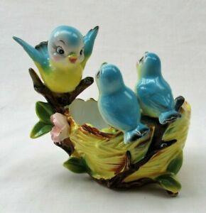 Vintage Norcrest Bluebird Planter mother babies and nest chippy