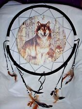 """18"""" Wolf Wolves Howl Dream Catcher Wall Hang Home Decor Feathers Gift US seller"""