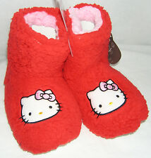 Hello Kitty Slipper Booties RED PLUSH NICE GIFT FREE USA SHIPPING MEDIUM 7-8