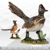Roadrunner Bird Jewelry Trinket Box with Hinged Lid Enameled Bejeweled Crystals