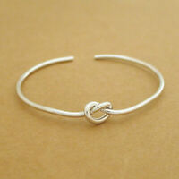 Sterling Silver Bangle Bracelet Twisted Knot Heart Lady Women 6g