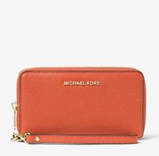 New Michael Kors Smartphone Wristlet Mercer Orange Pebbled Leather Wallet Nwt!
