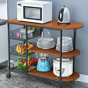Rolling Kitchen Bakers Rack Microwave Stand 3-Tier+3-Tier Table for Red Oak