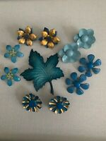 Variety Blue Lot Metal Enamel Flower Earrings 1 Leaf Pin Brooch