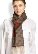 GUCCI beige & brown GG WEB detail ANGORA blend fringe scarf NWT Authentic $295!