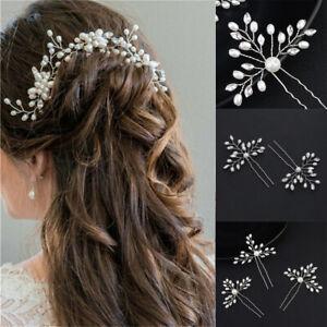 Flower Wedding Bridal Bridesmaid Pearls Hair Pins Clips Accessories Headpiece