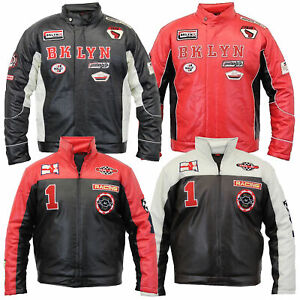 Mens Leather Look Jacket Racing Biker Coat Vintage Padded PVC Retro Lined Casual