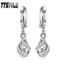 Luxury TT 18K White Gold Filled Clear CZ Hoop Dangle Earrings (ED107) NEW