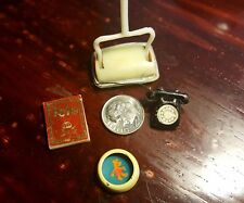 Vintage Doll House Accessories Metal Telephone Dog Bowl Phone Book Floor Sweeper