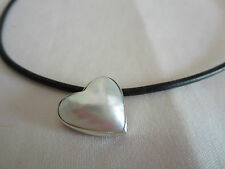 HANDMADE HEART MABE PEARL BLACK LEATHER CHOKER STERLING SILVER 925 NEW