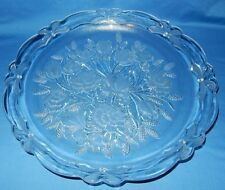 """14"""" Crystal Serving Platter Plate Spring Flowers Carnation Hyacinth Tulips Lily"""